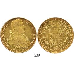 "Mexico City, Mexico, bust 8 escudos, Ferdinand VII (""armored"" bust), 1810HJ."