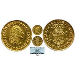 Mexico City, Mexico, bust 1 escudo, Philip V, 1733/2MF, choice Mint State, finest known example of a