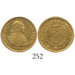 Mexico City, Mexico, bust 1 escudo, Charles IV, 1794FM, ex-Eliasberg.