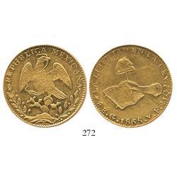 Guanajuato, Mexico, 8 escudos, 1868YF.