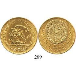 Mexico City, Mexico, 20 pesos (Aztec calendar), 1918.