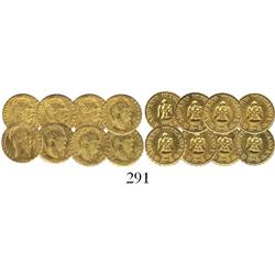 Lot of 8 fantasy Maximilian 1865 gold peso miniatures, struck in the late 1900s.