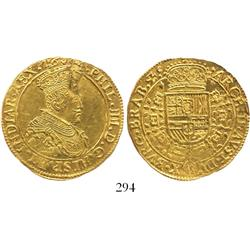 Brabant (Antwerp mint), Spanish Netherlands, 2 souverain d'or, Philip IV, 1644, rare.