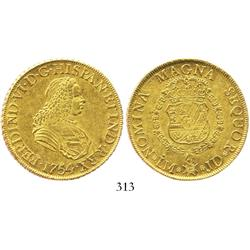 Lima, Peru, bust 8 escudos, Charles III (bust of Ferdinand VI), 1754JD, rare type.