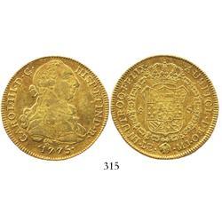 Lima, Peru, bust 8 escudos, Charles III, 1775MJ.