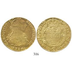 "Lima, Peru, bust 8 reales, Charles III, 1784MI, certified as being from Art McKee's ""Pitch Barrel wr"