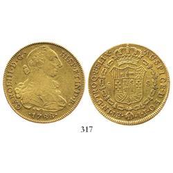 Lima, Peru, bust 8 escudos, Charles III, 1788IJ.