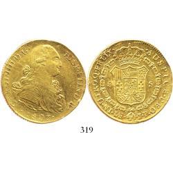 Lima, Peru, bust 8 escudos, Charles IV, 1803JP.