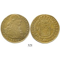 Lima, Peru, cob 8 escudos, Charles IV, 1807JP, believed to be from the San Pedro de Alcantara (1815)