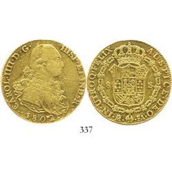 Madrid, Spain, bust 8 escudos, Charles IV, 1802FA.