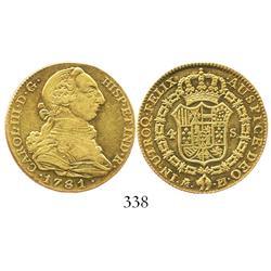 Madrid, Spain, bust 4 escudos, Charles III, 1781PJ.