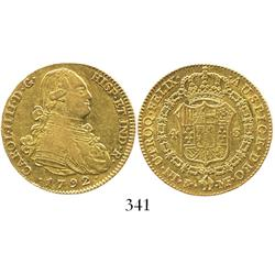Madrid, Spain, bust 4 escudos, Charles IV, 1792MF.