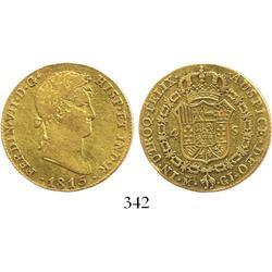 Madrid, Spain, bust 4 escudos, Ferdinand VII, 1815GJ.
