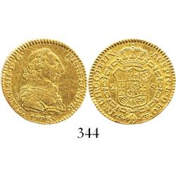 Seville, Spain, bust 2 escudos, Charles III, 1773CF.