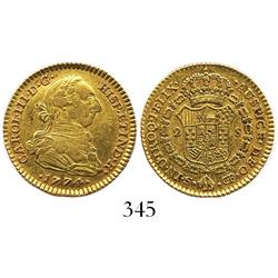 Seville, Spain, bust 2 escudos, Charles III, 1774CF.