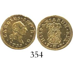 Madrid, Spain, bust 1/2 escudo, Charles III, 1759J.