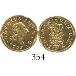 Madrid, Spain, bust 1/2 escudo, Charles III, 1759J.
