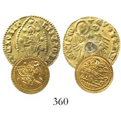 Lot of 2 miscellaneous gold coins: Turkey (Ottoman Empire), 1/4 altin (zeri mahbub), Kostantiniye (C