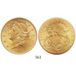 USA (Philadelphia mint), $20 eagle (Liberty head), 1903, encapsulated PCGS MS-64.