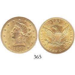 USA (Philadelphia mint), $10 eagle (Liberty head), 1901, encapsulated PCGS MS-63.