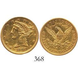 USA (San Francisco mint), $5 half eagle (Liberty head), 1881-S.