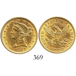 USA (Philadelphia mint), $5 half eagle (Liberty head), 1897.