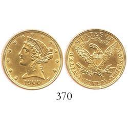 USA (Philadelphia mint), $5 half eagle (Liberty head), 1900.