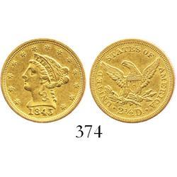 USA (Philadelphia mint), $2-1/2 quarter eagle (Liberty head), 1845.