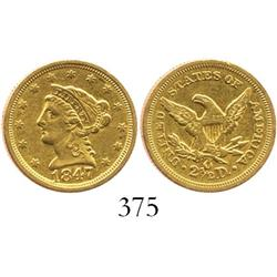 USA (New Orleans mint), $2-1/2 quarter eagle (Liberty head), 1847-O.