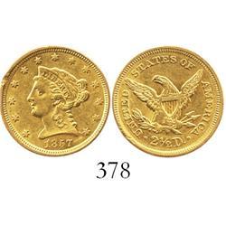 USA (Philadelphia mint), $2-1/2 quarter eagle (Liberty head), 1857.