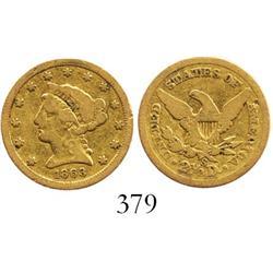 USA (San Francisco mint), $2-1/2 quarter eagle (Liberty head), 1863-S.