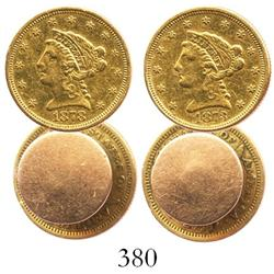 Lot of 2 USA $2-1/2 quarter eagles (Liberty head) made into cufflinks, 1873 and 1878-S.