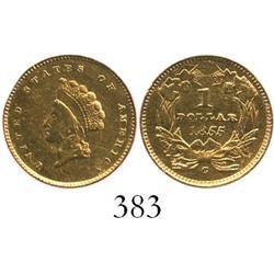 USA (Charlotte mint), $1 Indian, 1855, rare.