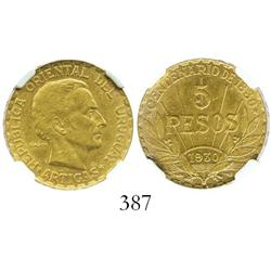 Uruguay (struck in Paris), 5 pesos, 1930 (Artigas), encapsulated NGC AU-58.