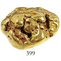 Large, natural gold nugget found at Cripple Creek, Alaska, estimated to be 85%-95% pure, 42.0 grams.