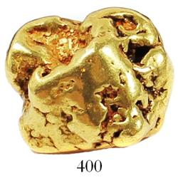 Large, natural gold nugget found at Cripple Creek, Alaska, estimated to be 85%-95% pure, 37.9 grams.