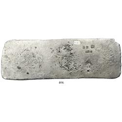"Silver ""tumbaga"" bar #M-138, 2962 grams."