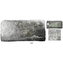 "Silver ""tumbaga"" bar #C-284, 2454 grams, uncleaned."