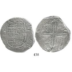 Seville, Spain, cob 8 reales, Philip II, assayer Gothic D at about 4 o'clock outside tressure around