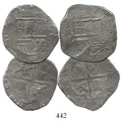 Lot of 2 Seville, Spain, cob 4R, Philip III, one with assayer V visible.