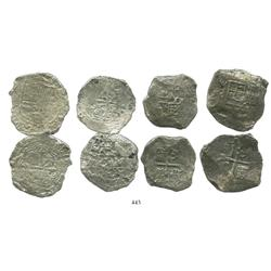 Lot of 4 Mexico City, Mexico, cob 8 reales, Philip III, assayers F and D (where visible), Grade 3.