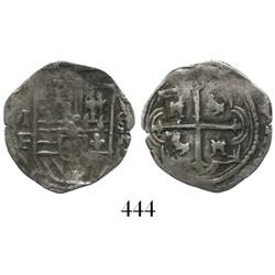 Mexico City, Mexico, cob 1 real, Philip III, assayers F-oD (MF to left, oD to right), Grade-1 qualit