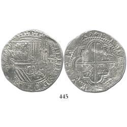 Potosi, Bolivia, cob 8 reales, Philip II, P-B/S/L (2nd period), Grade 1, scarce.