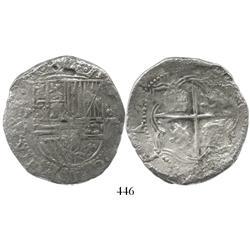 Potosi, Bolivia, cob 8 reales, Philip II, assayer A, Grade 2.