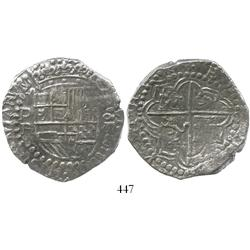 Potosi, Bolivia, cob 8 reales, Philip III, assayer R (curved leg), large flan and very choice, Grade