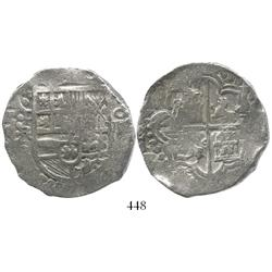 Potosi, Bolivia, cob 8 reales, Philip III, assayer R (curved leg), clearly Grade-1 quality but certi