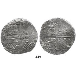 Potosi, Bolivia, cob 8 reales, Philip III, assayer R (curved leg), Grade 2 (estimated, no Grade on c