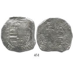 Potosi, Bolivia, cob 8 reales, Philip III, assayer C (rare), Grade 2.