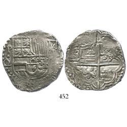 Potosi, Bolivia, cob 8 reales, Philip III, assayer Q/C (rare), Grade 1.
