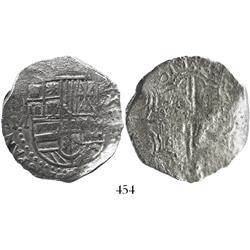 Potosi, Bolivia, cob 8 reales, (1)617M, date at 7 o'clock, rare, Grade 1.